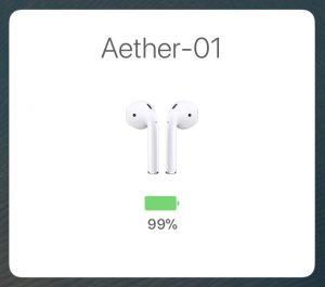 AirPods イヤホンの電池残量